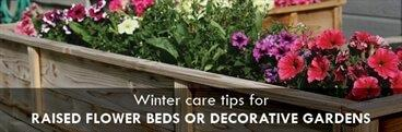 Winter care tips for raised flower beds or decorative gardens banner