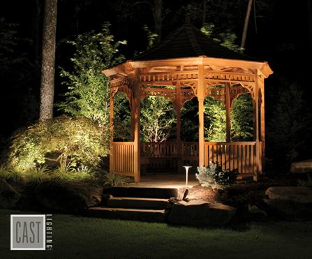 A well-lit gazebo at night