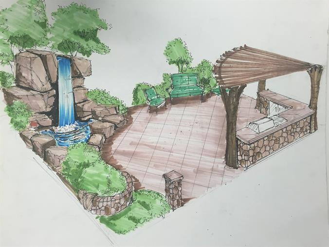 Outdoor landscaping concept drawing
