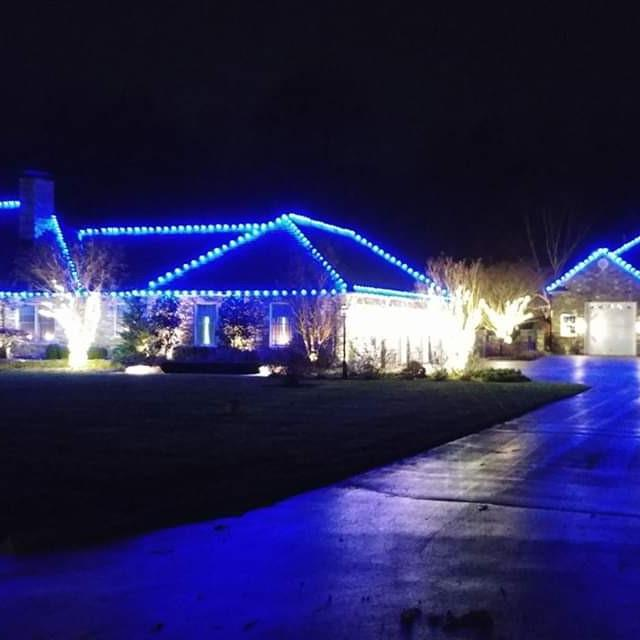 Blue Colored Holiday Lighting