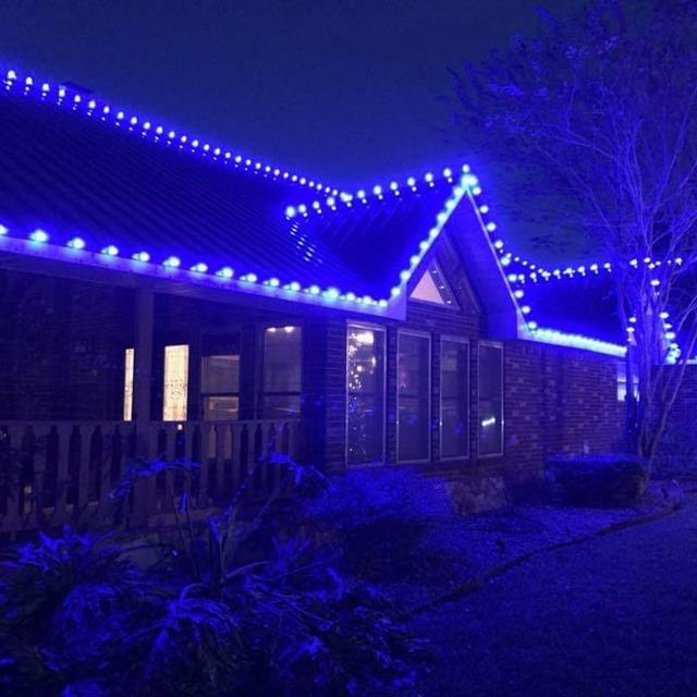 Blue Holiday Lighting