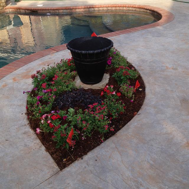 diamond shaped planter with flowers next to pool.