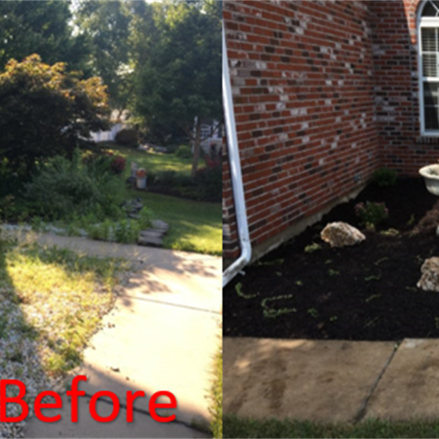 Before and after transformation of house planter.  black mulch, ground covering, rocks and bushes planted