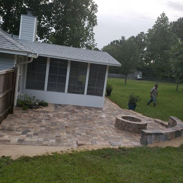 Stone patio behind house