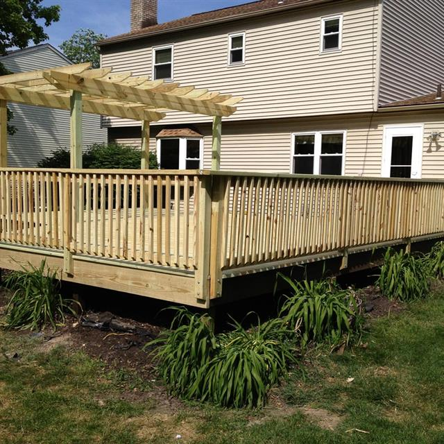 newly built wood deck and awning