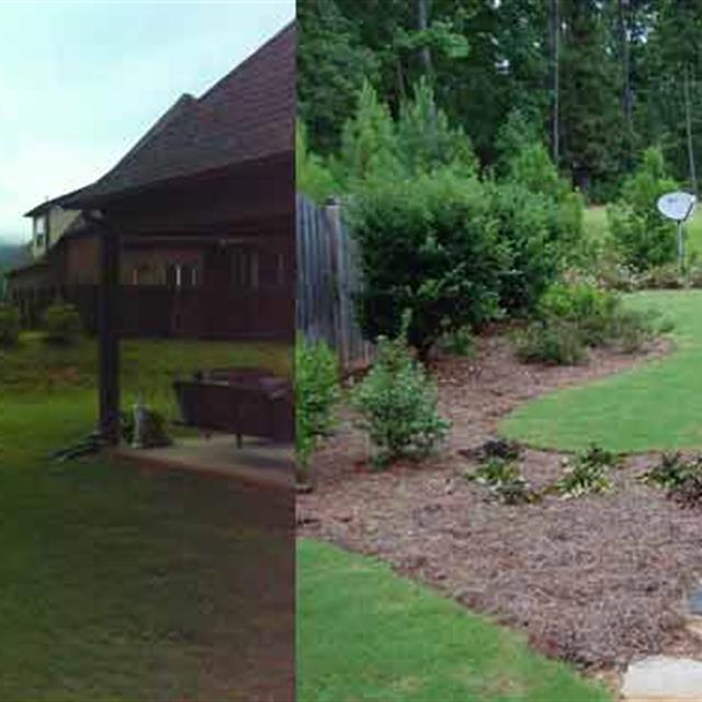 Before and after tranformation of plain lawn backyard to landscaping garden and rock walkway