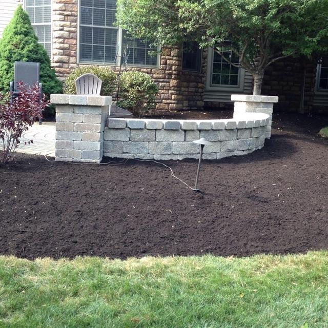 Fresh planter and stone wall