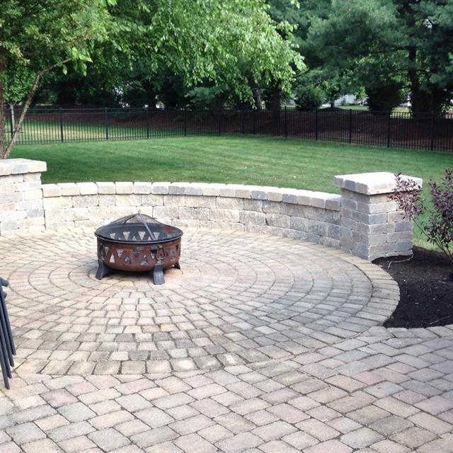 Stone firepit and planter