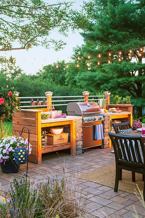 Rustic Outdoor Kitchen Area With Barbeque