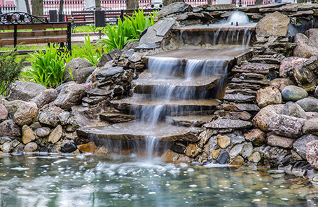 rock work layered waterfall fountain