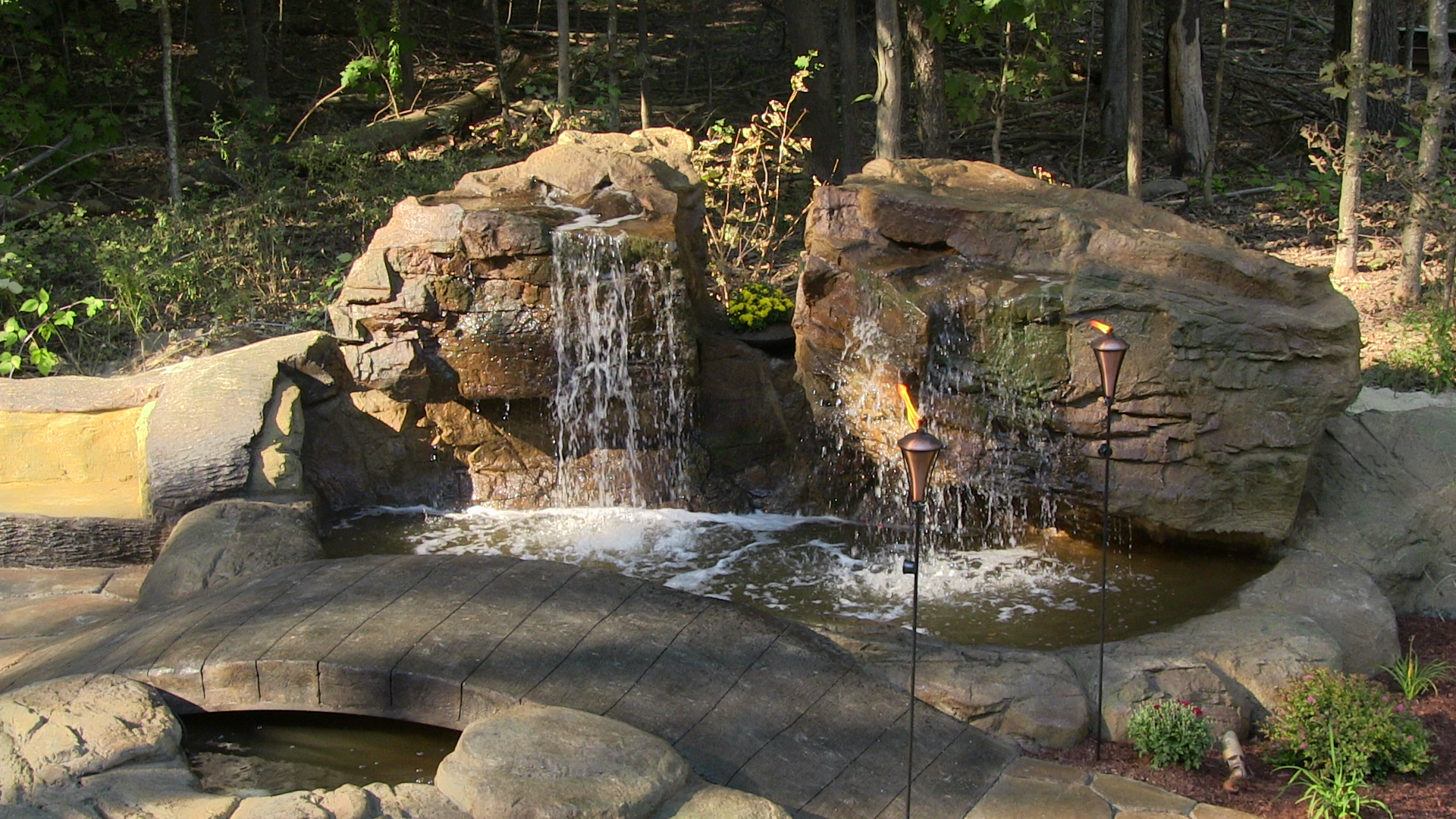 Outdoor landscaping waterfall